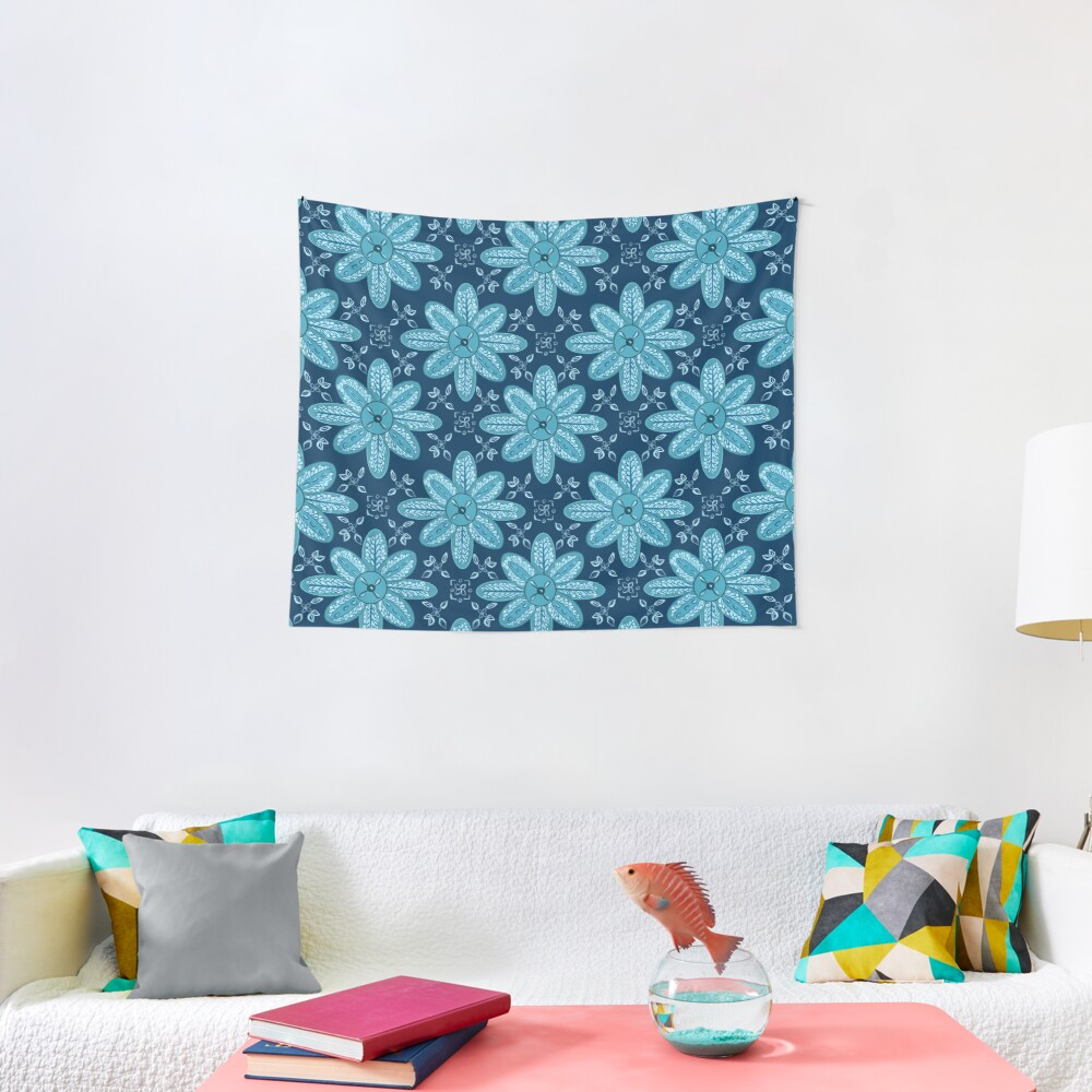 Indian Flower Pattern - Blue Tapestry