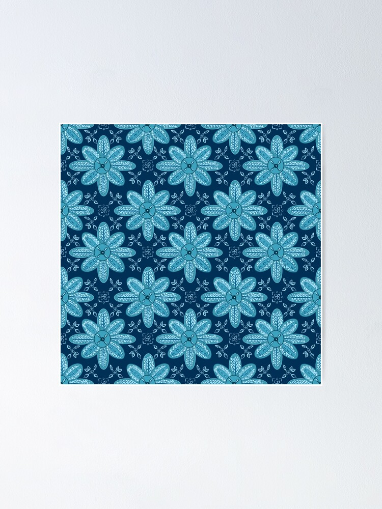 Alternate view of Indian Flower Pattern - Blue Poster