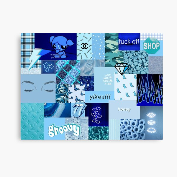 Blue Aesthetic Collage Canvas Print By Zoefrom Redbubble Quote, purple background, purple sky, vaporwave, golden aesthetics. redbubble