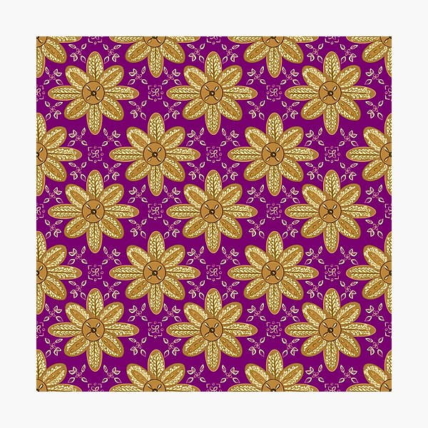 Indian Flower Pattern - Purple  Photographic Print