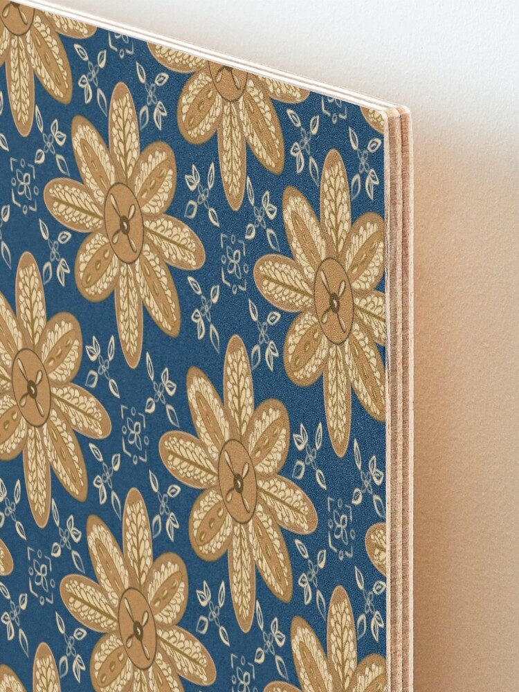 Alternate view of Indian Flower Pattern - Blue Mounted Print