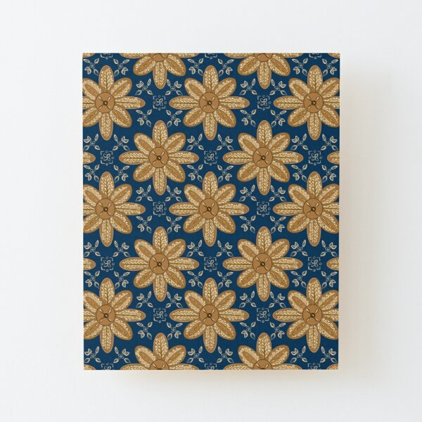 Indian Flower Pattern - Blue Wood Mounted Print