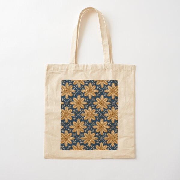 Indian Flower Pattern - Blue Cotton Tote Bag