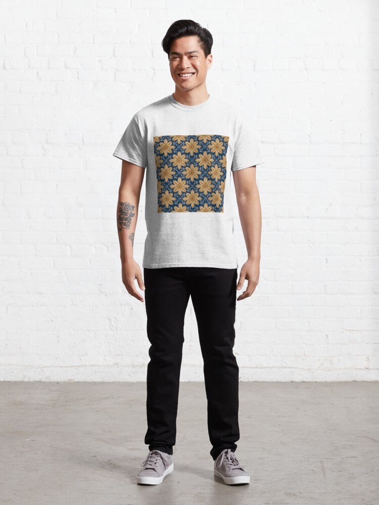 Alternate view of Indian Flower Pattern - Blue Classic T-Shirt
