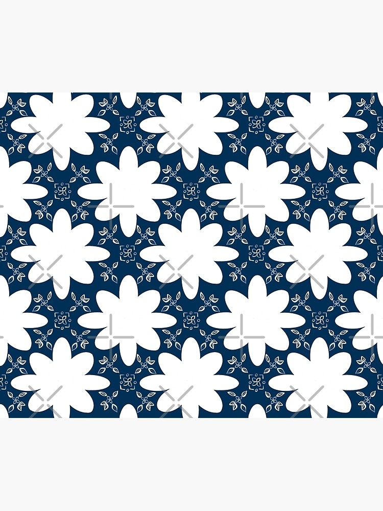 Minimalist Indian Flower Pattern - Blue by adarovai