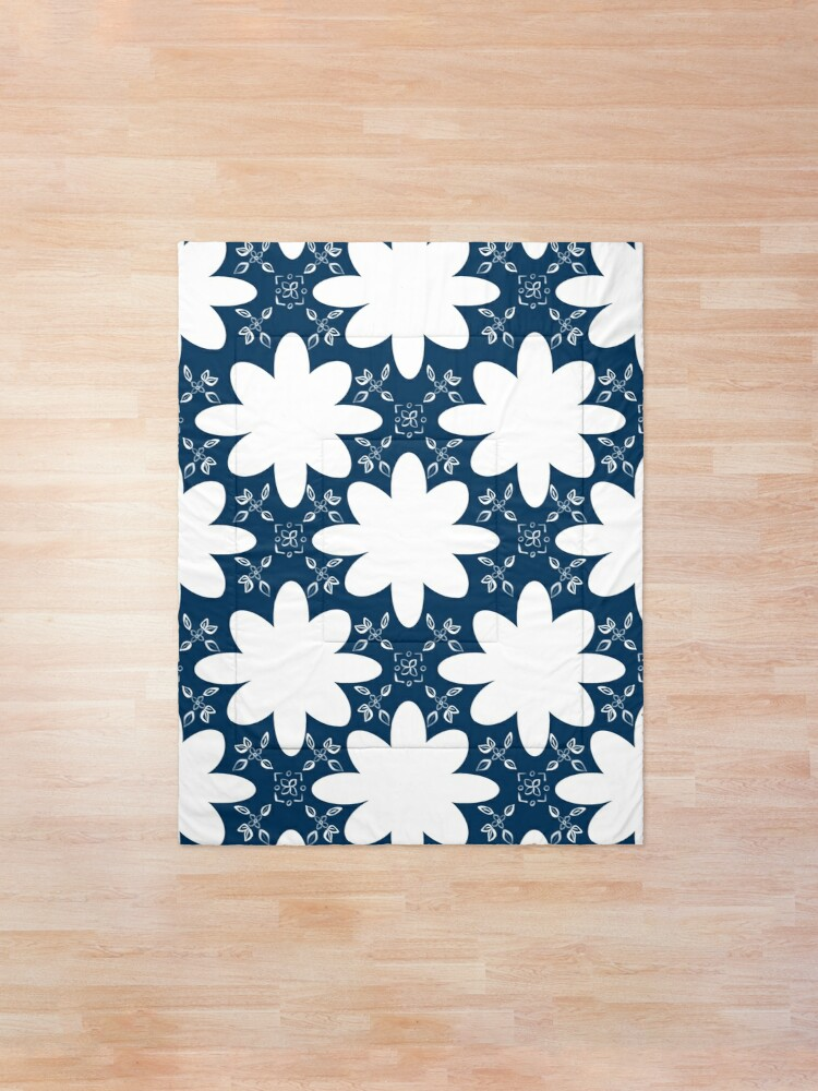 Alternate view of Minimalist Indian Flower Pattern - Blue Comforter