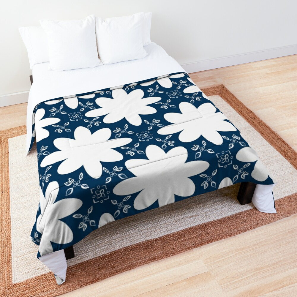 Minimalist Indian Flower Pattern - Blue Comforter