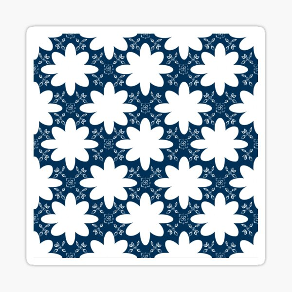 Minimalist Indian Flower Pattern - Blue Sticker