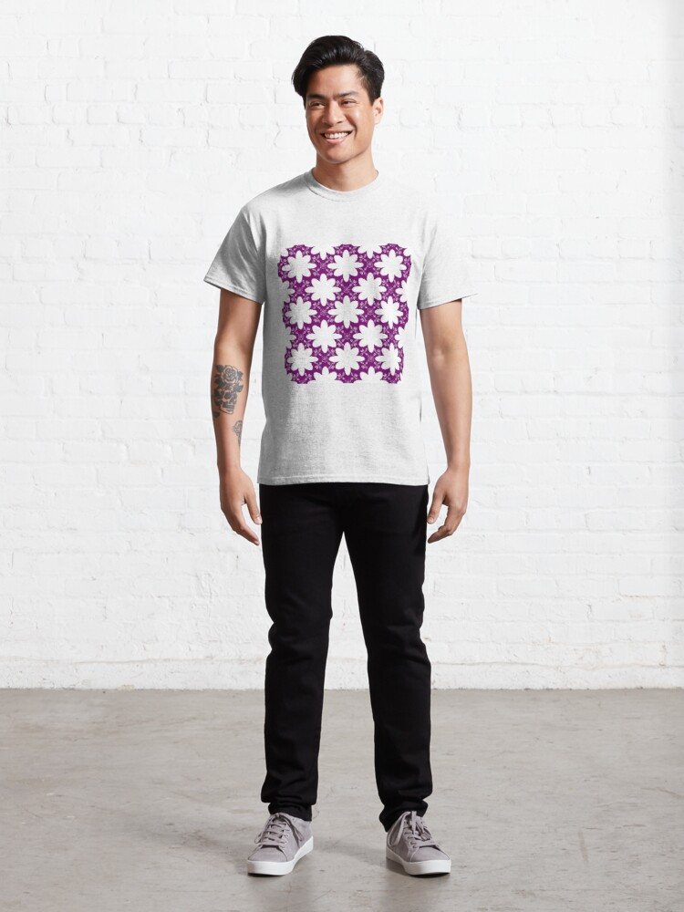 Alternate view of Minimalist Indian Flower Pattern - Purple Classic T-Shirt