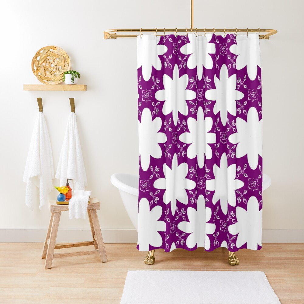 Minimalist Indian Flower Pattern - Purple Shower Curtain