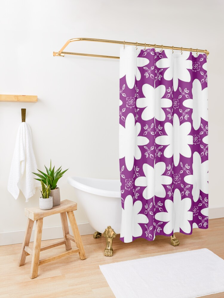 Alternate view of Minimalist Indian Flower Pattern - Purple Shower Curtain