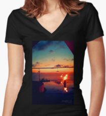 Bali Sunset Flame Women's Fitted V-Neck T-Shirt