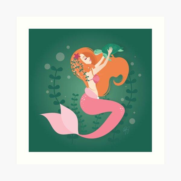 Ginger Mermaid and Turtle Art Print