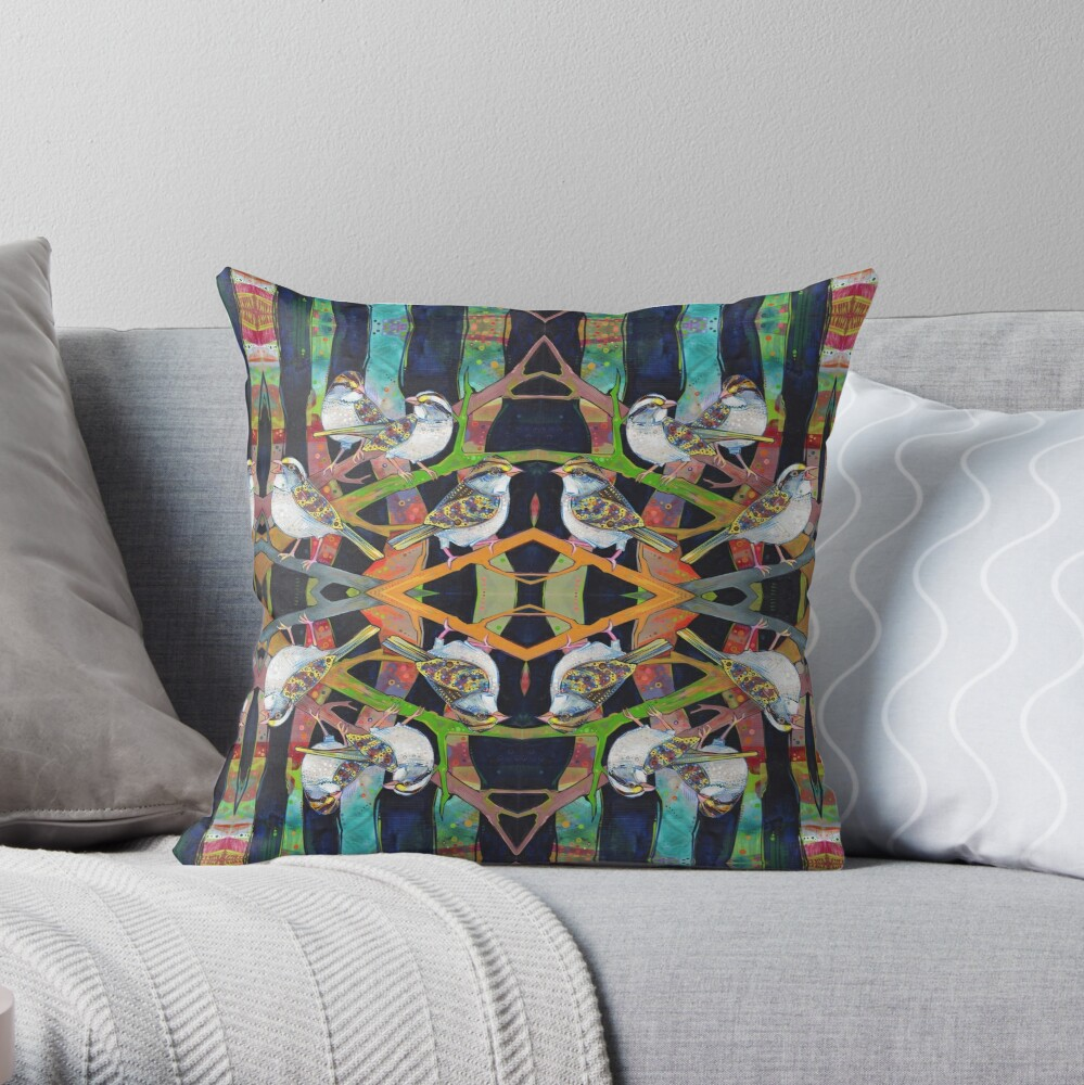 White-throated Sparrows Painting - 2012 Throw Pillow