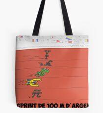 La course de 100 M d'argent Tote Bag
