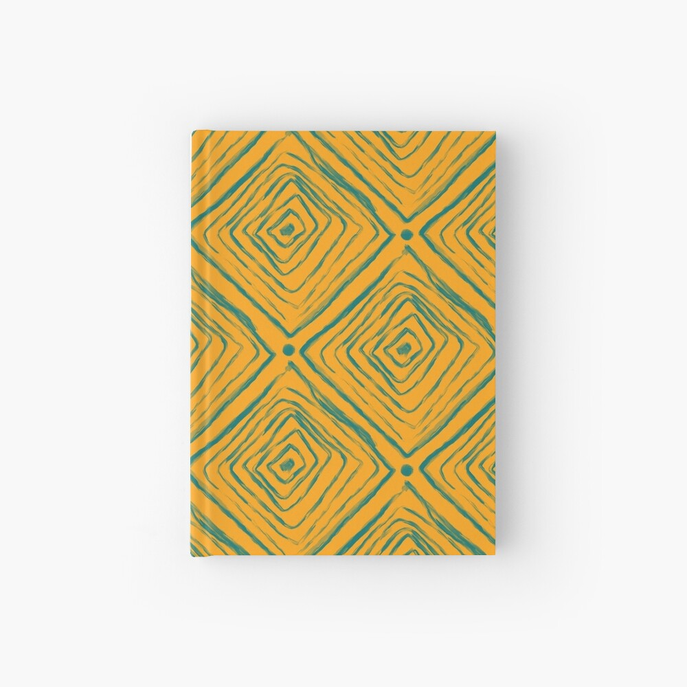 Indigenous Brazilian Pattern - Green and Yellow Hardcover Journal