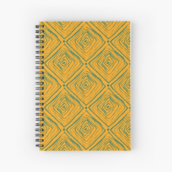 Indigenous Brazilian Pattern - Green and Yellow Spiral Notebook