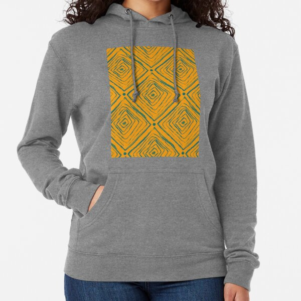 Indigenous Brazilian Pattern - Green and Yellow Lightweight Hoodie
