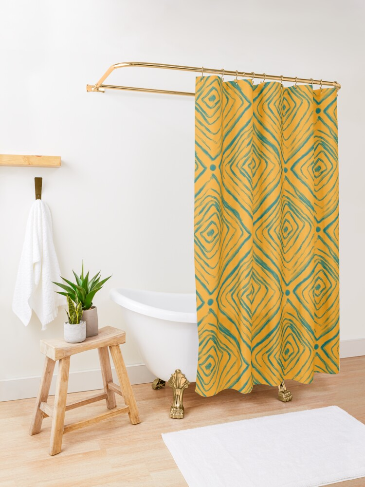 Alternate view of Indigenous Brazilian Pattern - Green and Yellow Shower Curtain