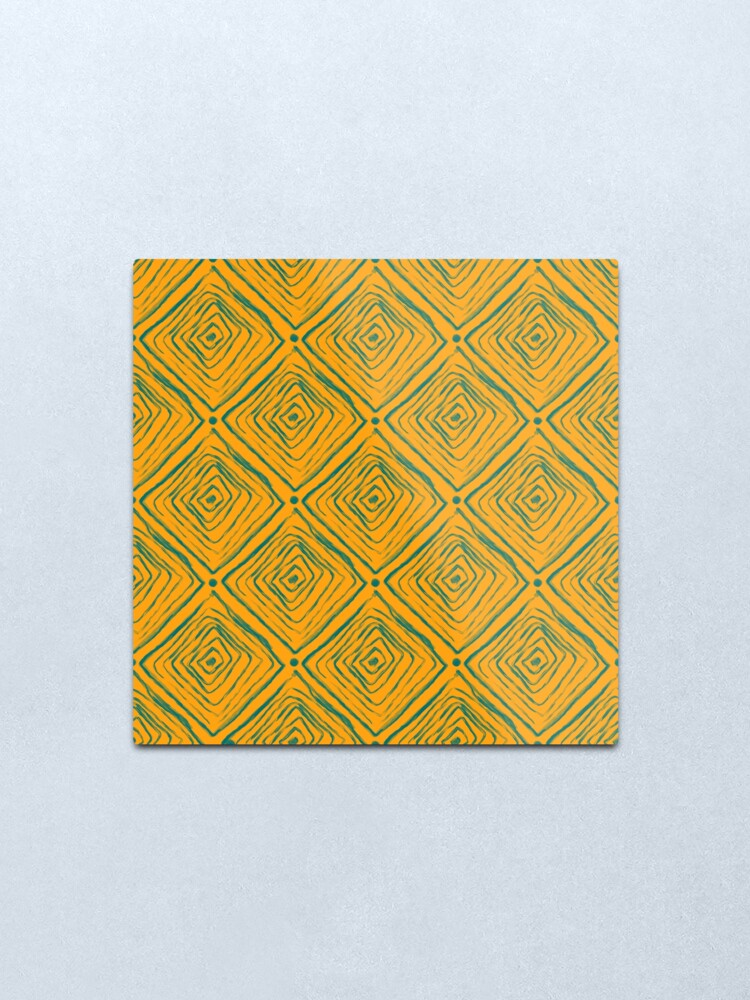 Alternate view of Indigenous Brazilian Pattern - Green and Yellow Metal Print