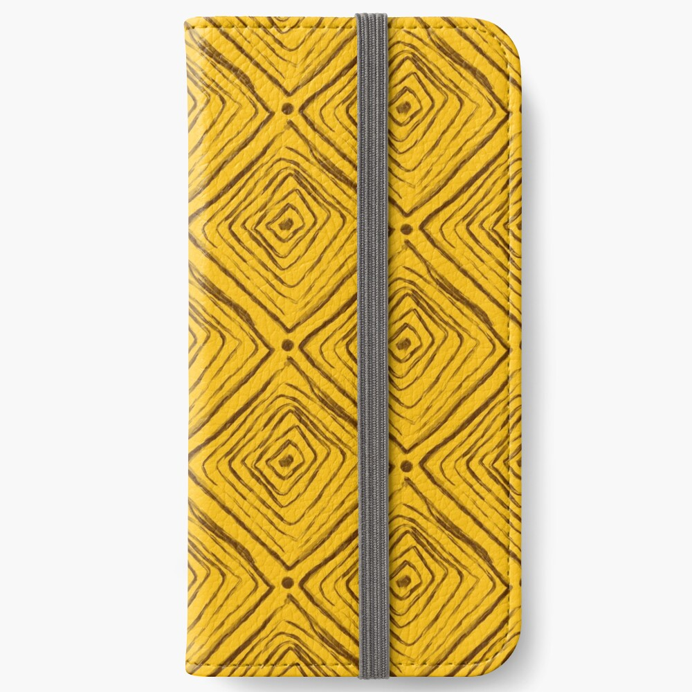 Indigenous Brazilian Pattern - Brown and Yellow iPhone Wallet