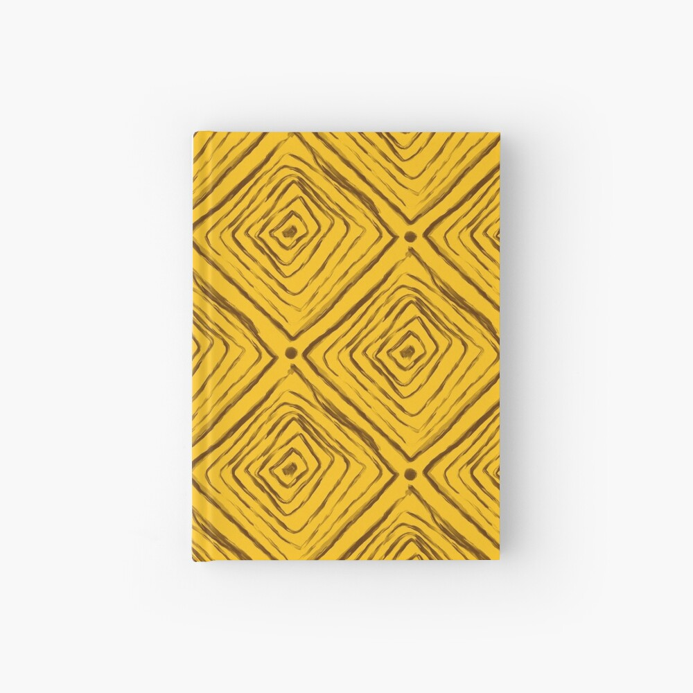 Indigenous Brazilian Pattern - Brown and Yellow Hardcover Journal