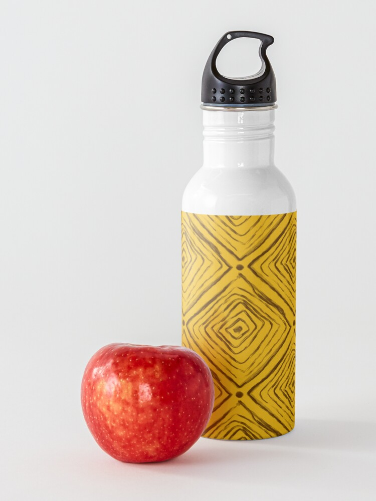 Alternate view of Indigenous Brazilian Pattern - Brown and Yellow Water Bottle