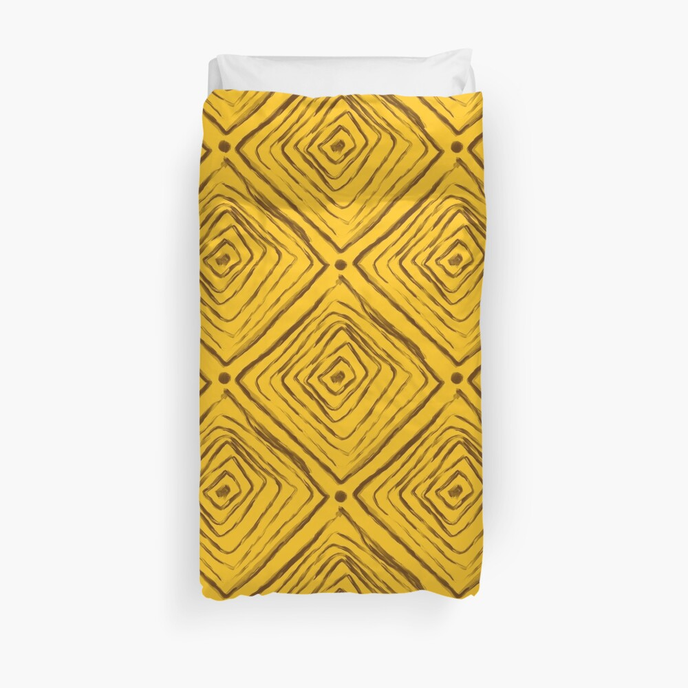 Indigenous Brazilian Pattern - Brown and Yellow Duvet Cover