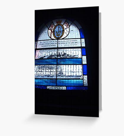 Sea themed stain glass window Greeting Card
