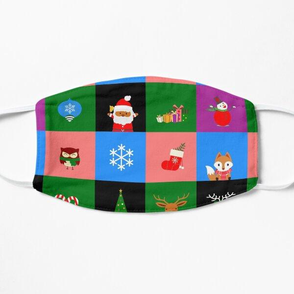 christmas african santa claus colorblock Flat Mask