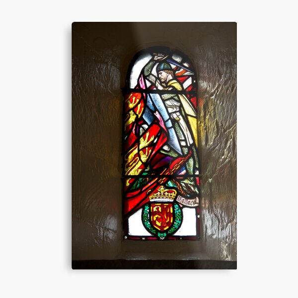 Stained glass window of William Wallace in Edinburgh Castle Metal Print
