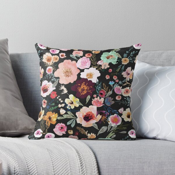 Burst into Bloom (midnight) Throw Pillow