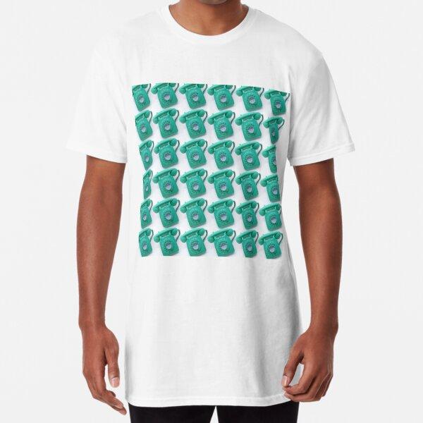 Jade green vintage telephone pattern Long T-Shirt