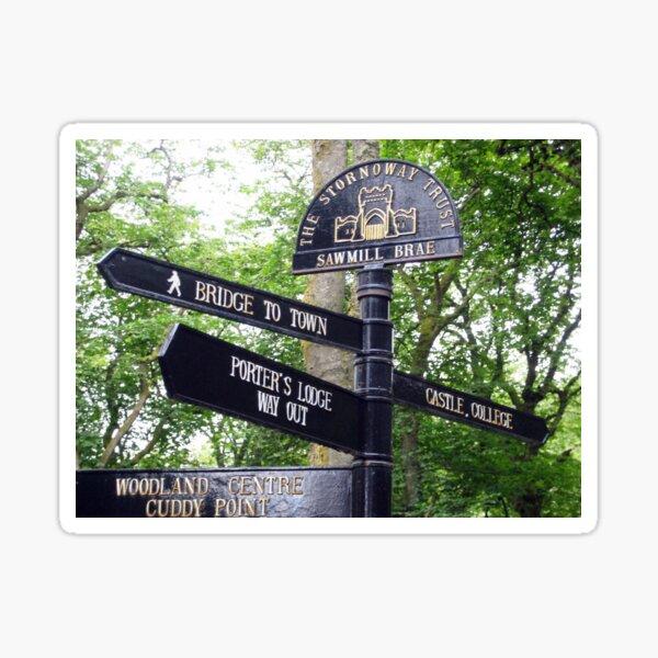 Signpost in English, Stornoway, Isle of Lewis, Scotland Sticker