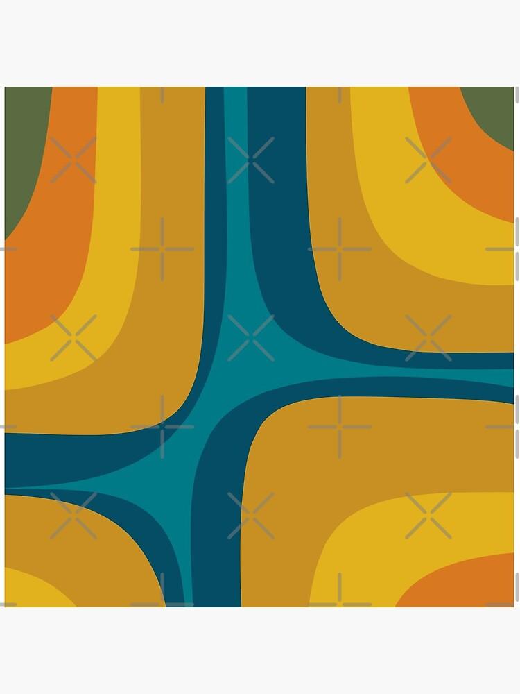 Retro Groove Pattern Mustard Teal by kierkegaard