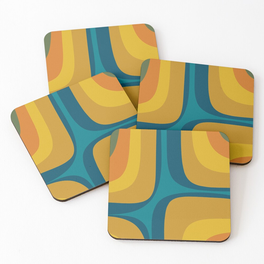 Retro Groove Pattern Mustard Teal Coasters (Set of 4)