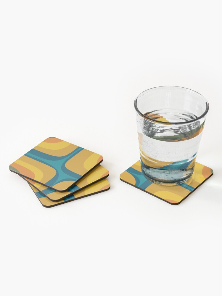 Alternate view of Retro Groove Pattern Mustard Teal Coasters (Set of 4)