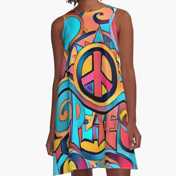 Peace and Love Colorful Retro Art A-Line Dress