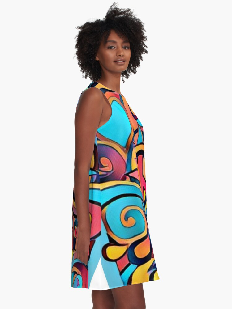 Alternate view of Peace and Love Colorful Retro Art A-Line Dress