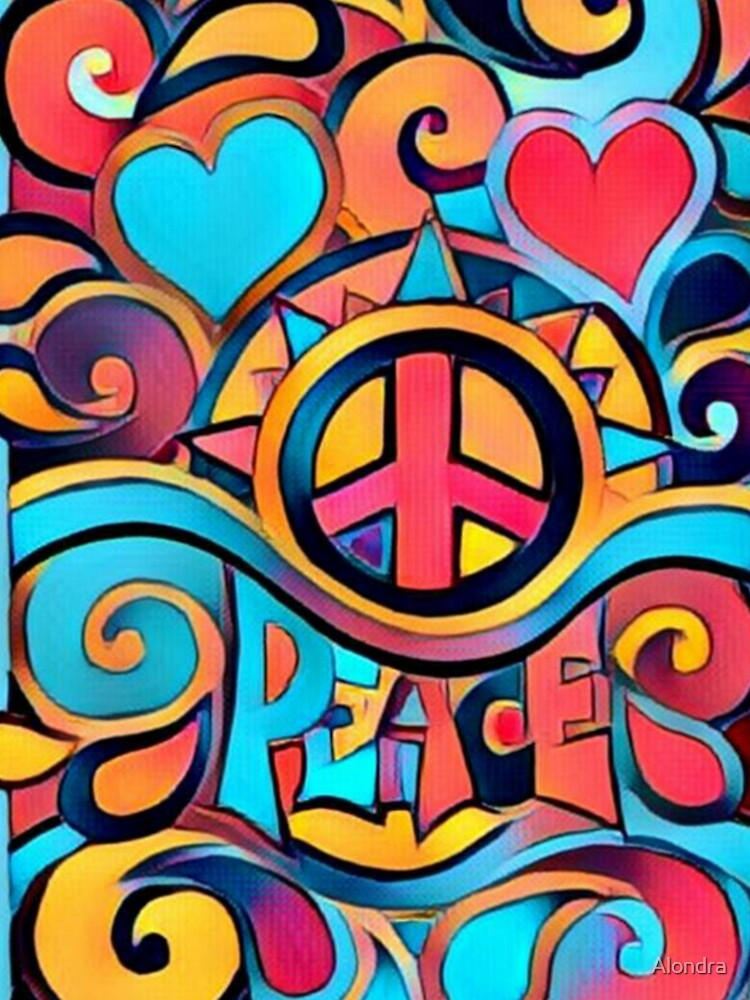 Peace and Love Colorful Retro Art by Alondra