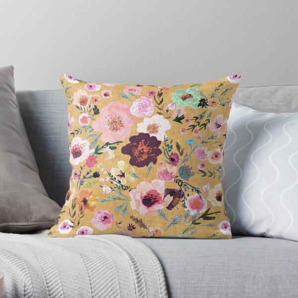 Burst into Bloom (mustard gold) Throw Pillow