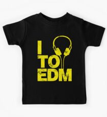 I Listen to EDM (yellow) Kids Tee