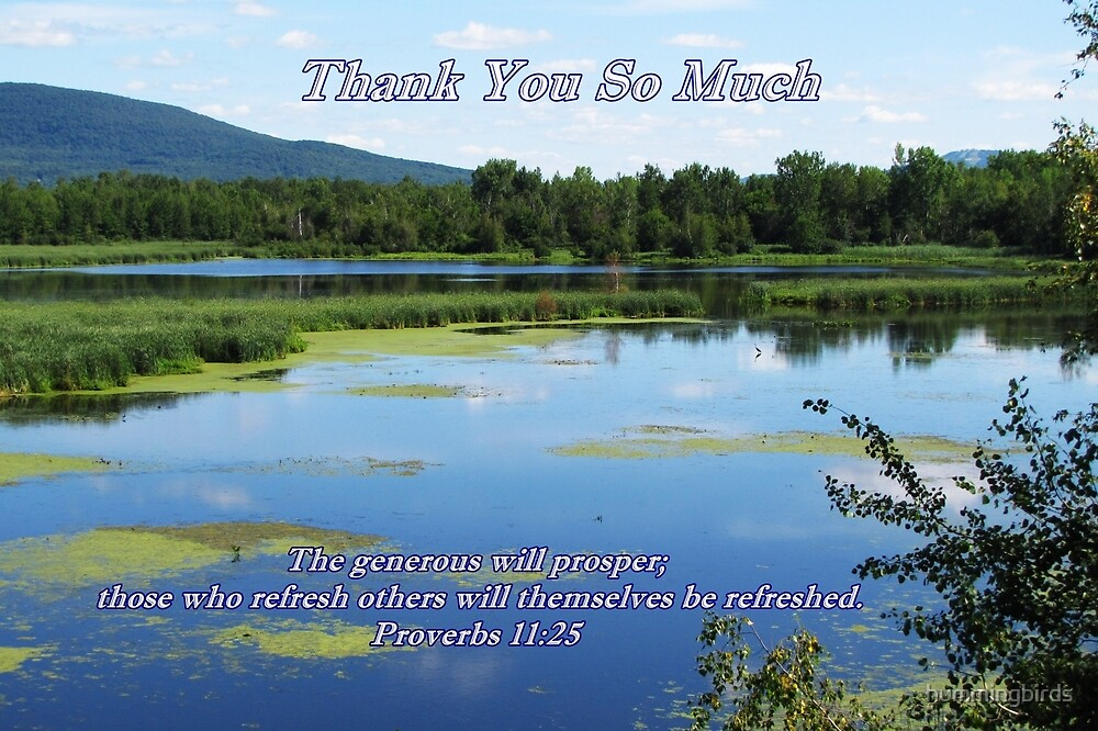 Thank you card-Proverbs 11:25 by hummingbirds