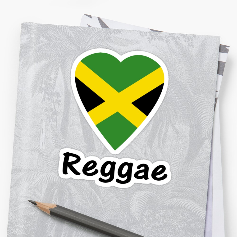 I love reggae music jamaica flag sticker tee by deanworld