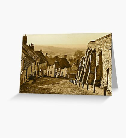 Gold Hill in Sepia Greeting Card