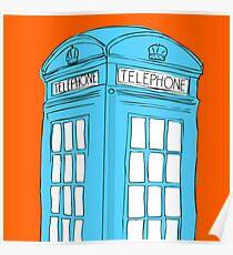 Neon Telephone Box Poster
