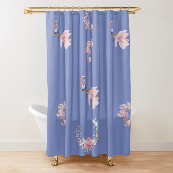 Minimalistic Design With Flowers And Birds Shower Curtain