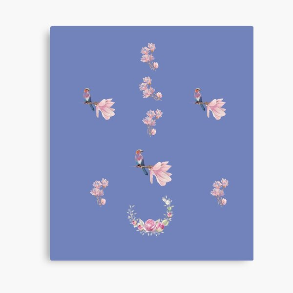Minimalistic Design With Flowers And Birds Canvas Print
