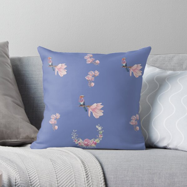 Minimalistic Design With Flowers And Birds Throw Pillow