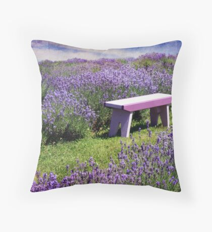 Sitting amongst the Lavender Throw Pillow